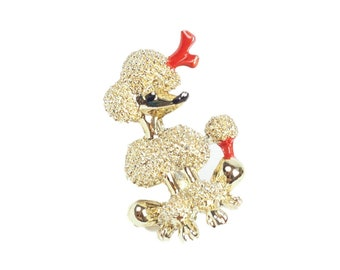 80s Gold Red Poodle Lapel Pin Brooch