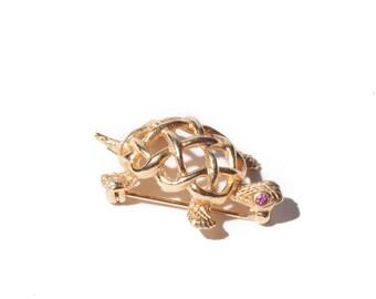 Vintage Signed Napier Gold Turtle Brooch