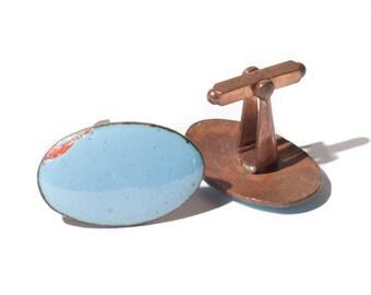 Vintage Light Blue Copper Cuff Links
