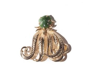 """2"""" Gold Octopus Green Gemstone Brooch / Pin"""
