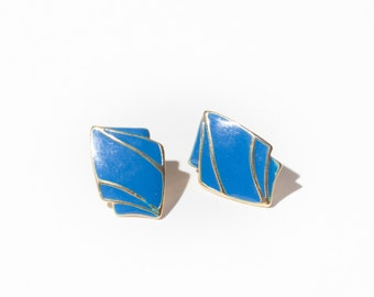 80s Blue and Gold Trim Fashion Earrings