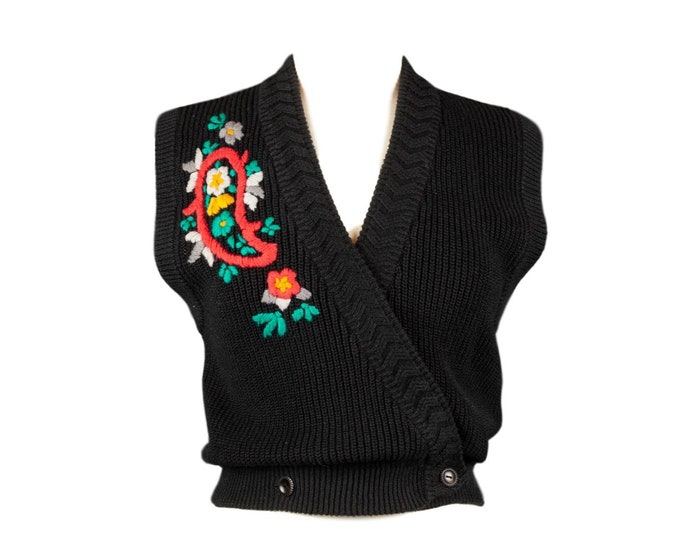 Featured listing image: 80s Black Floral Paisley Sleeveless Sweater Shirt M
