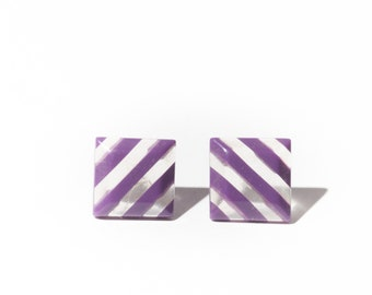 80s Clear Purple Diagonal Striped Square Earrings