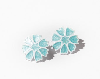 60s White Light Blue Flower Earrings