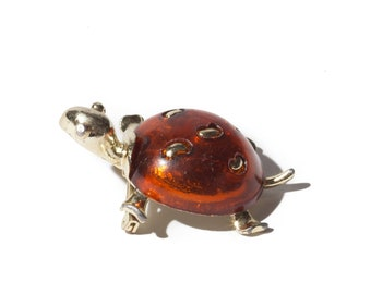 Vintage Gold Amber Turtle Brooch / Pin