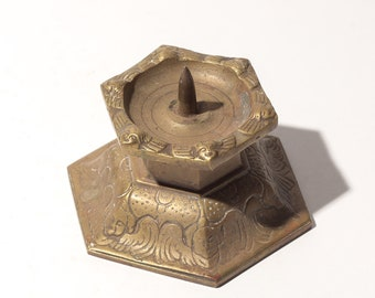 Mid-Century Brass Candle Holder