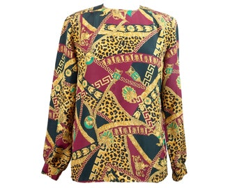 90s Gold Baroque Leopard Long Sleeve Blouse with Shoulder Pads