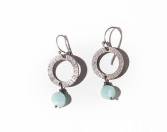 Bronze Aqua Wire Wrapped Dangle Earrings