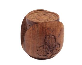 60s Boho Floral Handcarved Wood Coasters Set of 6