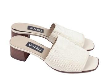 90s Beige Vaneli Slide On Low Heeled Sandals