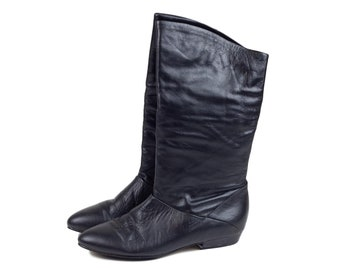 80s Lifestride Black Pull On Slouchy Pirate Boots 7.5 / 8N