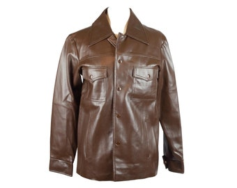 70s Supreme Brown Faux Leather Jacket S