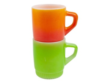 70s Set of 2 Fire King Orange Green Milk Glass Mugs