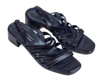 90s Black Sequin Low Heel Strappy Sandals 8 N