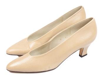 80s Liz Claiborne Beige Low Heel Pumps 7 N