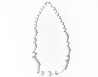 Vintage White Gold Silver Beaded Necklace