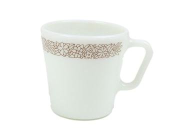 70s Woodland Pyrex 1410 9oz Milk Glass Coffee Mug