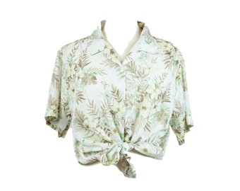 90s White Tropical Pattern Collared Blouse MP