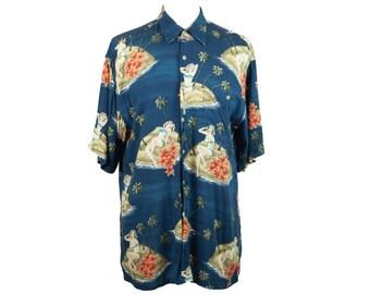 90s Pierre Cardin Blue Hawaiian Lady Short Sleeve Shirt M