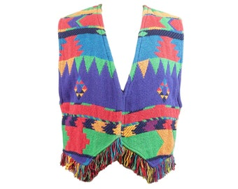 90s Southwestern Tribal Woven Cotton Multicolor Vest L