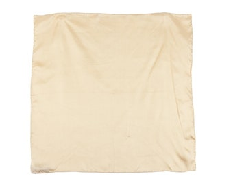 70s Beige Hand Rolled Silk Square Scarf