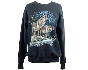 90s Lee Sturdy Sweats Black Gray Wolves Graphic Sweatshirt XL