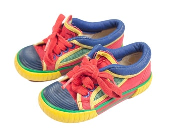90s Toddler University Primary Colors Kids Shoes Sneakers 8 c