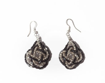 Vintage Woven Silver Black Beaded Earrings