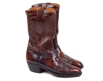 80s Lucchese Cherry Brown Leather Mens Cowboy Boots 8 D