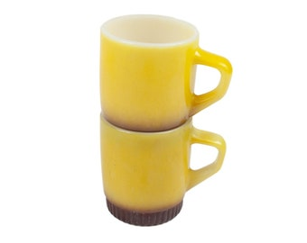 70s Set of 2 Fire King Yellow Brown Milk Glass Mugs