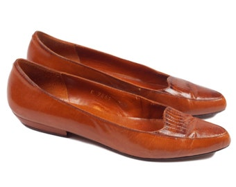 80s Allure Cognac Brown Leather Women's Loafers 7