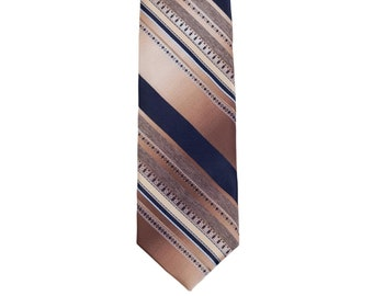 70s Damon Diagonal Striped Navy Beige Tie