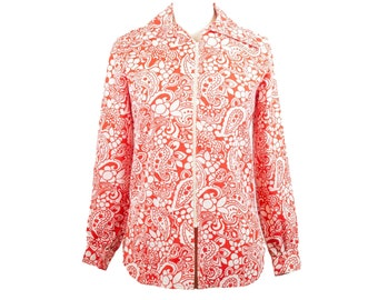 60s Red White Floral Long Sleeve Zip Front Disco Shirt