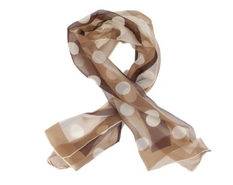 70s Tan Brown Polka Dot Chiffon Scarf