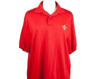 80s Red Fleur de Lis XL Men's Polo with