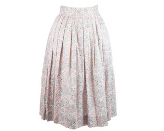 80s Jones New York Gray Pink Floral Pleated Skirt 10