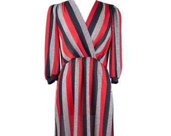 70s Red Black Striped Mid-Length Dress