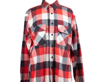 80s Five Brother Red Black White Flannel Plaid Shirt L