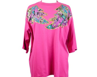 80s Custom Bejeweled Pink Applique T-Shirt