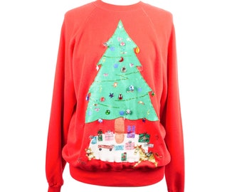80s Ugly Christmas Sweat Red Crewneck Sweatshirt