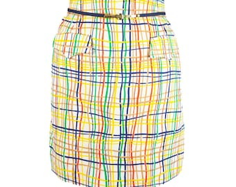 60s New Difini Originals Yellow Multicolor Skort Skirt with Belt 10