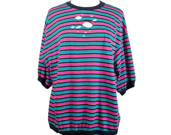 80s Style Plus Distressed Striped Oversized T-Shirt