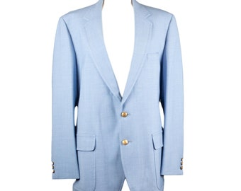 60s Rams Head Grodins Baby Blue Mens Blazer Gold Buttons