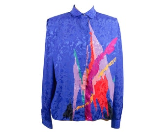 80s Philippe Marques Blue Abstract Long Sleeve Blouse with Shoulder Pads