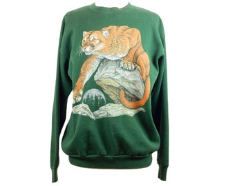 90s Tultex Mountain Lion Cougar Green Graphic Sweatshirt L