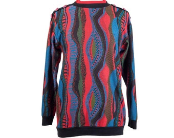 80s Coogi-Style Pullover Sweater with Button Accents