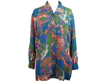90s Multicolor Tribal Pattern Button Up Blouse