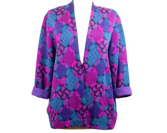 80s Purple Houndstooth Floral Cardigan with Pockets Shoulder Pads