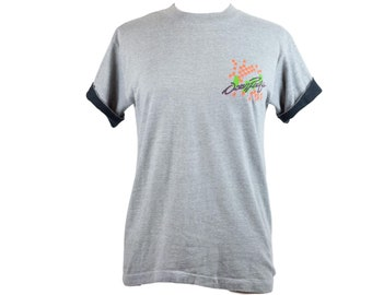 80s Ocean Pacific Gray Black Neon T-shirt Youth L