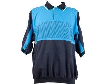 80s Imprints Black Blue Striped Casual Polo